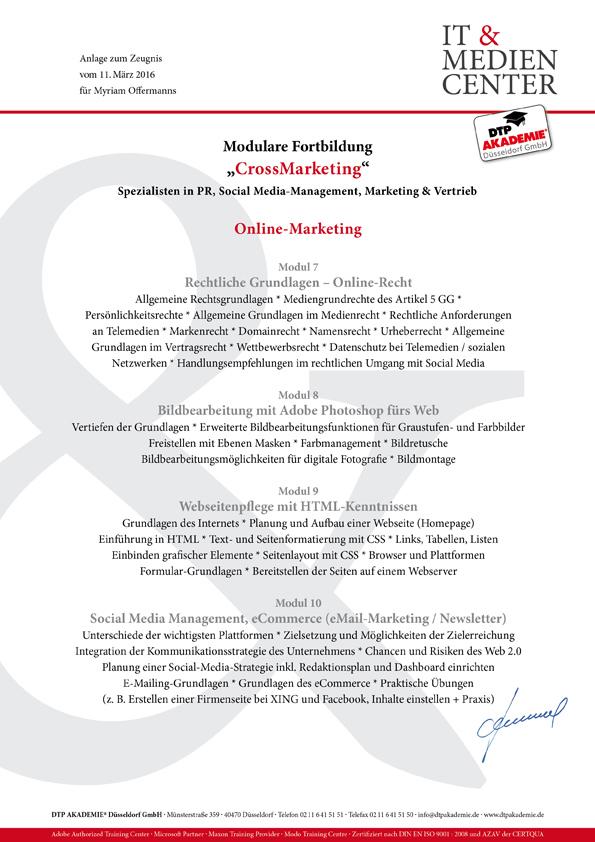 DTP-Fachkraft Myriam Offermanns_Weiterbildungszeugnisse